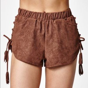 Kendall & Kyle Faux Suede Lace-Up Shorts - M